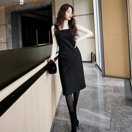 SSUMPARTY Square Neck Midi Dress #Black S(36)