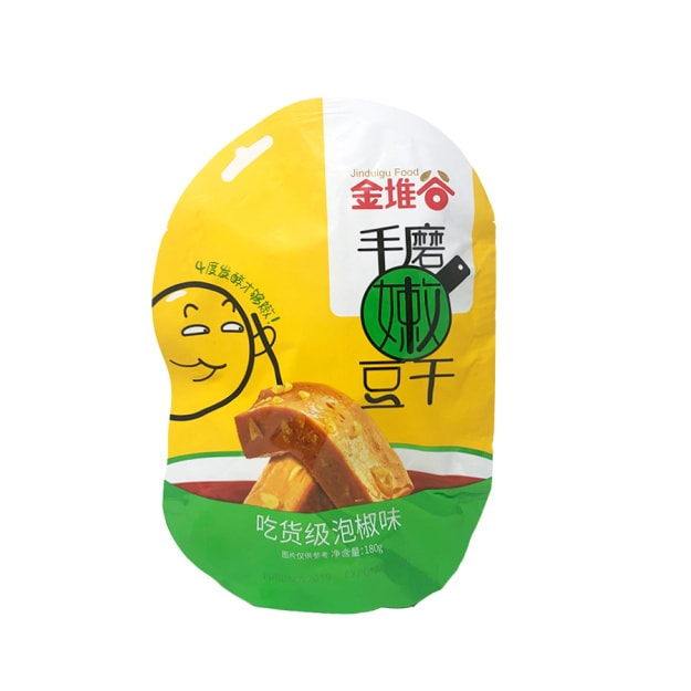Product Detail - JINGDUIGU  Hand Made Tender Tofu Snack Pickled Pepper Flavor 180g - image 0