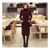 MAGZERO [Limited Quantity Sale] Cable Knit Turtleneck Sweater Dress Wine One Size(S-M)
