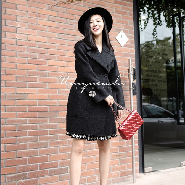 Product Detail - UNIQUEWHO Dark Gray Pure Wool Slim Double-faced Woolen Coat L - image 0