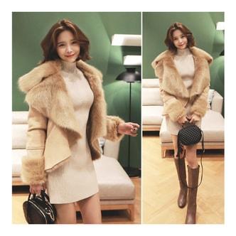 KOREA MAGZERO Shawl Collar Faux Fur Jacket Beige One Size(S-M) [Free Shipping]