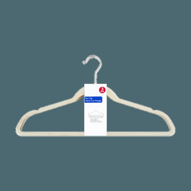 商品详情 - 防滑绒面西装外套 衣服衣架 3件套 米白色 - image  0