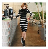 MAGZERO [Limited Quantity Sale] Mock Neck Striped Knit Top and Skirt 2 Pieces Set #Black One Size(S-M)