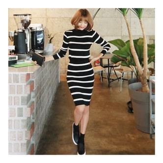MAGZERO [限量销售] 企领条纹编织上衣+条纹裙两件套 #黑色 均码(S-M)