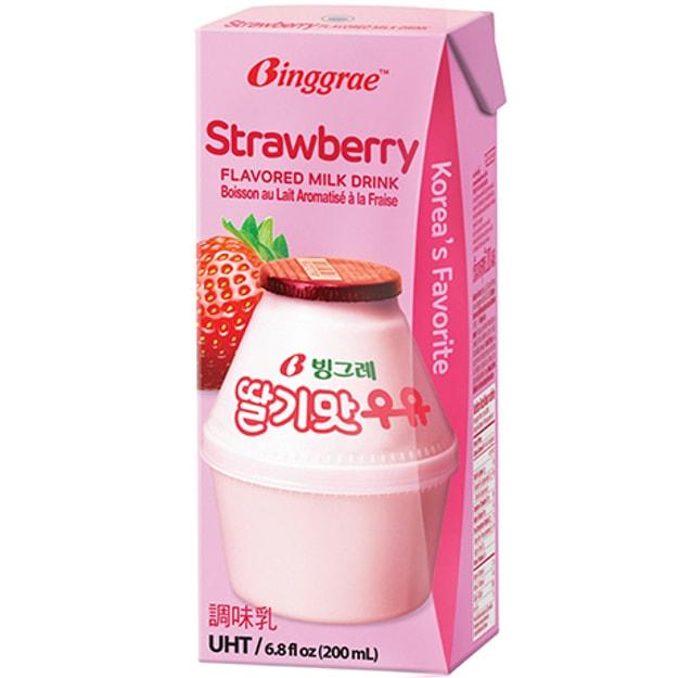 商品详情 - 韩国BINGGRAE 牛奶 草莓味 6x200ml - image  0