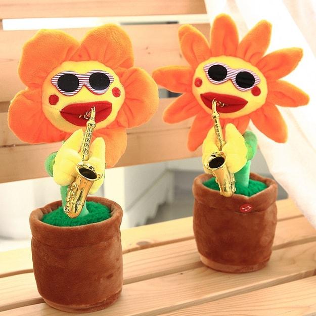 商品详情 - 中国直邮六一抖音同款玩具妖娆花太阳花会唱歌跳舞扭动的吹萨克斯的向日葵网红搞笑沙雕玩具女孩 橙色尖角 - image  0