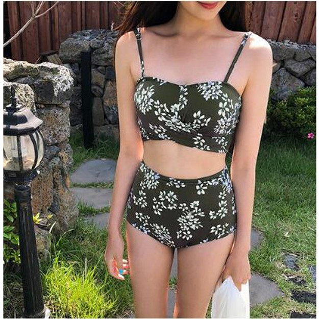 CHERRYKOKO New Korean Women Summer Sexy floral Swimsuit khaki free