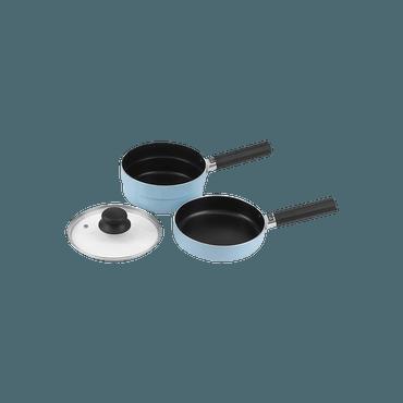 日本 Pearl Metal パール金属 家用不粘涂层煎锅带盖子18cm 蓝色 五件套 2锅2手柄1锅盖 可摞放
