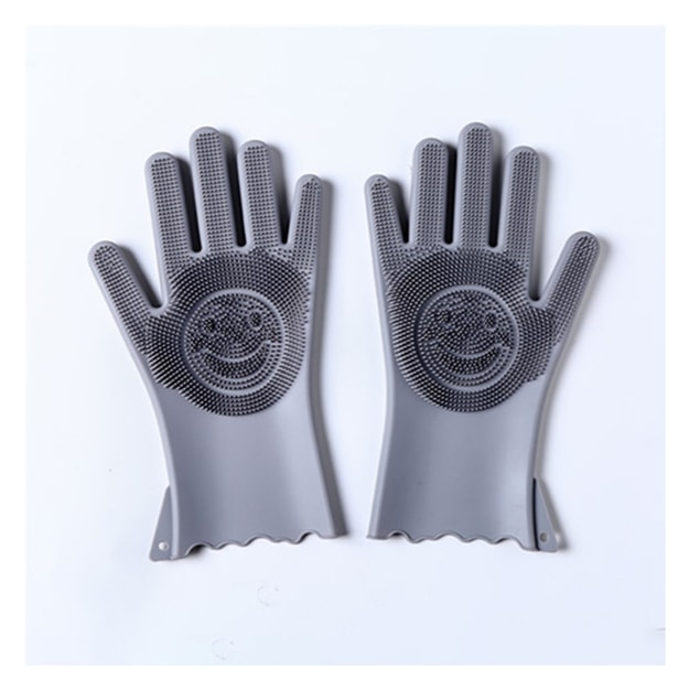 TIMESWOOD Silicone Thicken Durable Multi-Function Gloves Cleaning Housework Anti-scalding Dishwashing Gloves Grey 1 Pair
