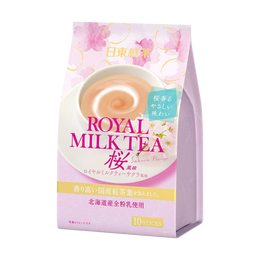 NITTO TEA Royal Milk Tea Powder Sticks Sakura Edition 10pcs
