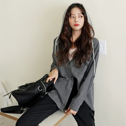 SSUMPARTY Hooded Plaid Cotton Shirt #Black One Size(Free)