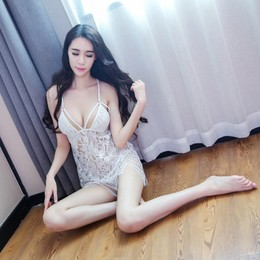 XIAZHIBING Sexy Lingeries Temptation Set Transparent Sleepwear White