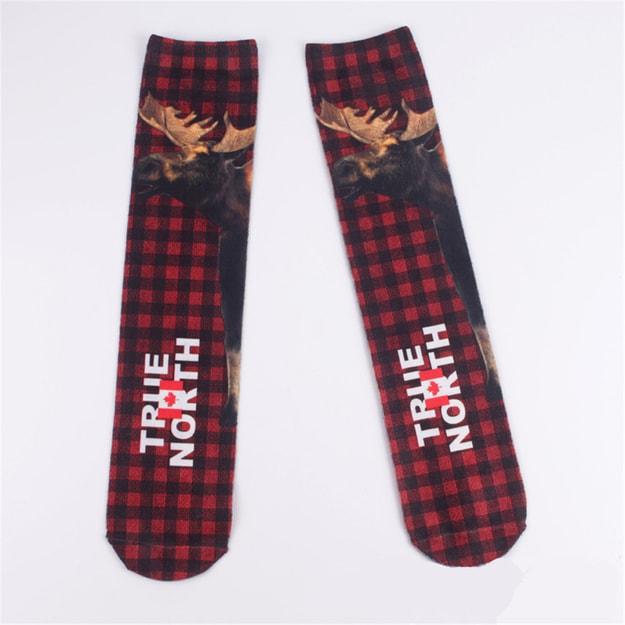 商品详情 - 独角定制 双面3D印花袜 男女士全棉袜子创意趣味艺术袜 鹿 1双 - image  0