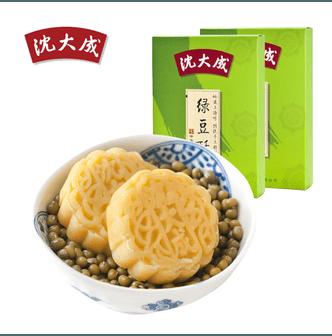 【中国直邮】沈大成绿豆酥 180g*2盒 纯绿豆糕 绿豆冰糕 传统糕点上海特产