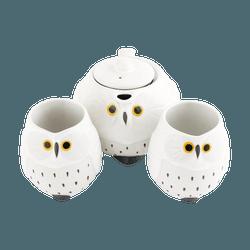 日本 日式可爱白猫头鹰 茶具套组 茶壶x1 茶杯x2 OWC4-W