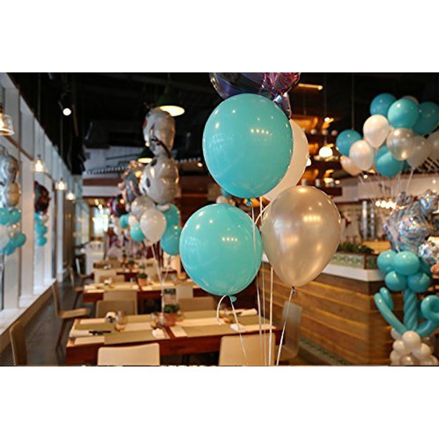 PuTwo Balloons 100 Pack 12 Inch White Tiffany Blue 25m Free Ribbon For