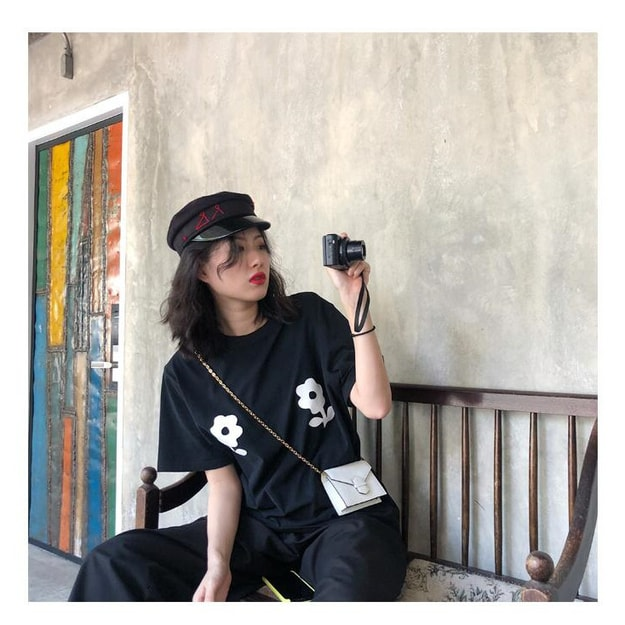PRINSTORY 2019 Spring/Summer Little Flower T-shirt Black/M