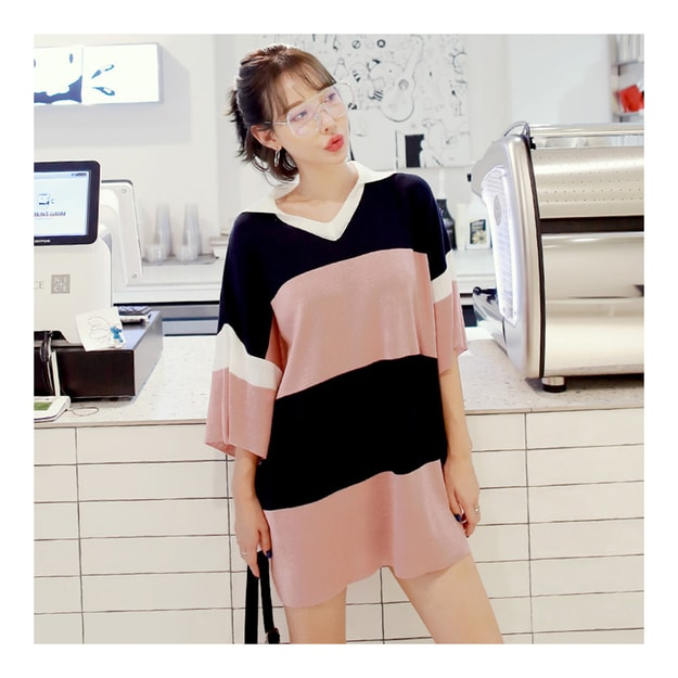 Product Detail - [KOREA] MAGZERO Collared Knit Dress Sweater #Indie Pink One Size(S-M) [免费配送] - image 0