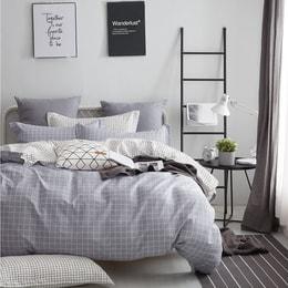 水星家纺 100% 全棉床品 简格 Full 码 床单四件套  (枕套x2 被套x1 床笠x1)