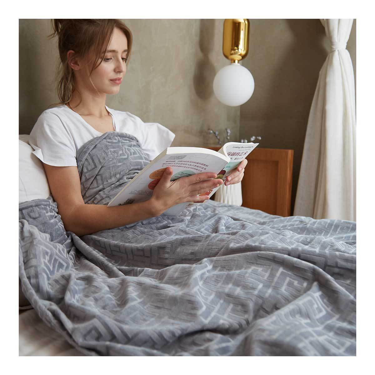 """MERRYLIFE 重力毯助眠减压毛毯 促进深度睡眠午睡毯空调毯重力被两件套  重力毯两件套 (60"""" 80"""" 20 lbs 灰色) 怎么样 - 亚米网"""