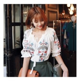 MAGZERO [ Limited Quantity Sale] Ethnic Embroidery Shirring Blouse White One Size(S-M)