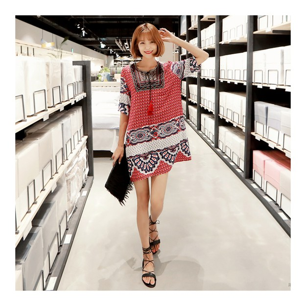 Product Detail - KOREA MAGZERO Tribal Print Tunic Dress #Red One Size(S-M) [Free Shipping] - image 0