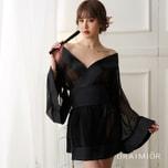 DRAIMIOR  Shiny veil ornate kimono cosplay costume. Black One size
