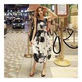 [韩国正品] MAGZERO 泼墨图案背心裙 #黑白 均码(S-M) [免费配送]