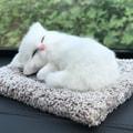 中国直邮活性炭仿真狗车内饰品摆件可爱汽车装饰车载用品竹炭包除甲醛除味 小号白猫一件