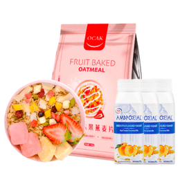 【Value Set B】AMBROSIAL Greek Yogurt Peach Flavor 205g*10+ OCAK Dried Fruit Cereal 400g*1
