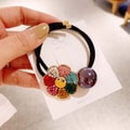 Cinderella selected super fairy lovely alloy smile face diamond and sun flower rope #Black bead