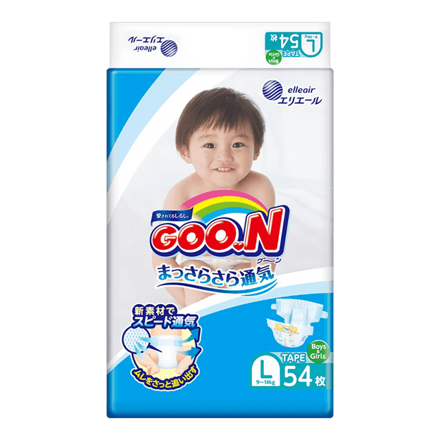 Product Detail - GOO.N Baby Diaper Tape Type L Size 9-14kg 54pc (with Vitamin E) - image 0