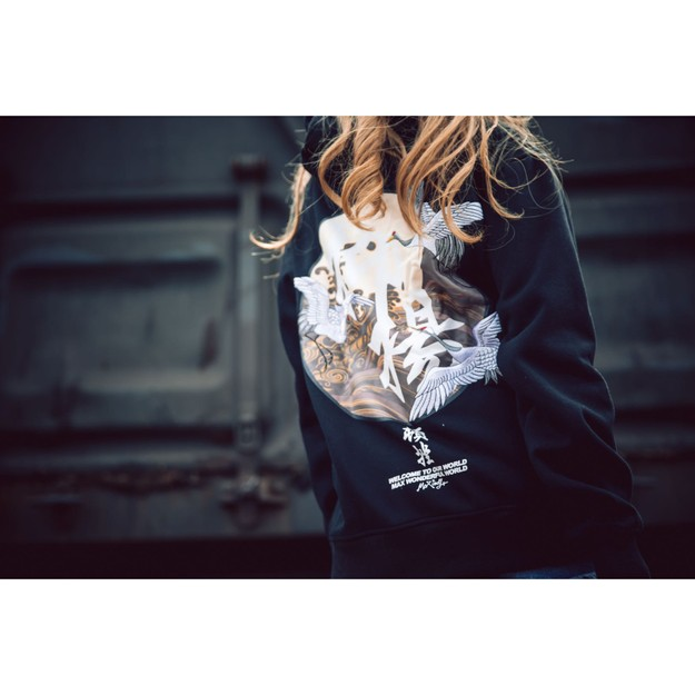 NIEPCE Flying Kanji Cranes Embroidery Hoodie Black L 1 Piece