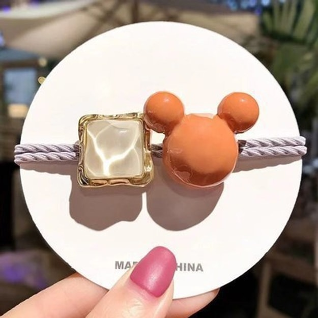 Product Detail - Cinderella selected girl\'s hair rings ins hollow simple geometry lovely hair rope headdress #Orange Mickey - image  0