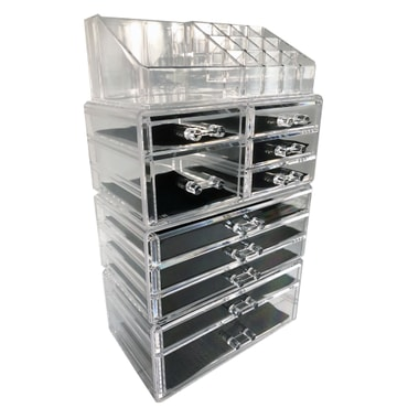 【Cosmetic Storage】ROSELIFE [THCA] 4-Layers Acrylic Cosmetic Storage Box with 10 Drawers,12+4 Slots,Detachable,Clear