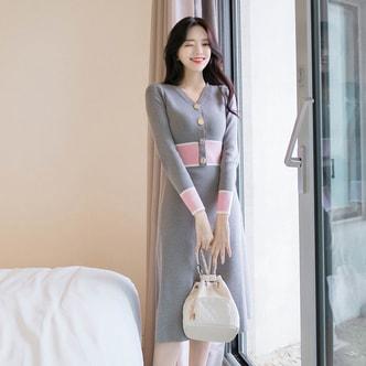 【韩国直邮】ATTRANGS 韩国性感女人味V领高腰修身针织连衣裙 灰色 均码