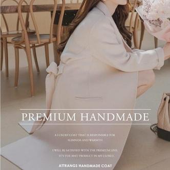 【韩国直邮】ATTRANGS  90%羊毛含量高品质高开叉设计手工制作双面羊毛呢大衣 浅粉色 均码