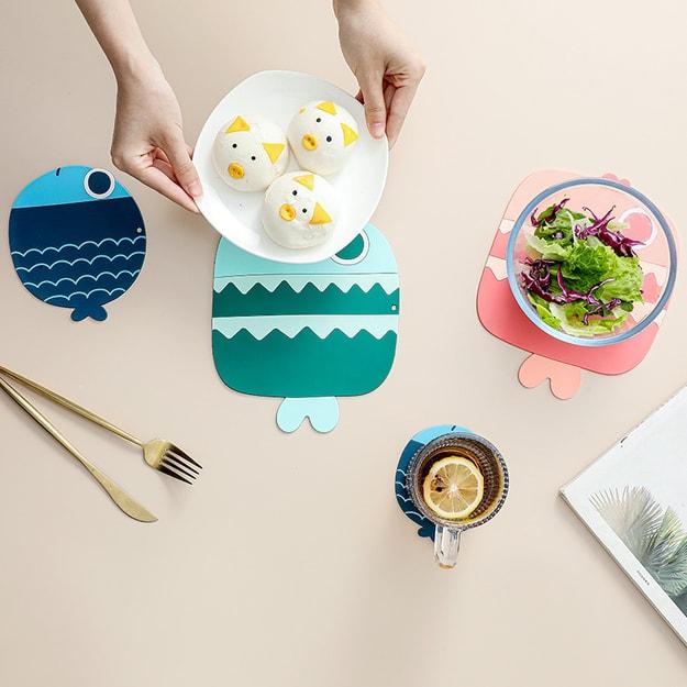 商品详情 - 中国直邮 隔热垫耐高温硅胶防烫垫餐桌垫卡通餐垫家用杯垫砂锅垫子碗盘垫大号 绿鱼 - image  0