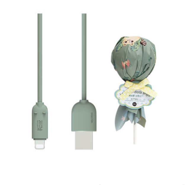 商品详情 - 冇心良品(MAOXIN)棒棒糖系列造型USB苹果手机数据线/ 充电线 仙人绿 - image  0