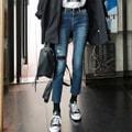 [韩国直邮] WINGS 韩国仿旧修身牛仔裤女 #蓝色 S(25-26)