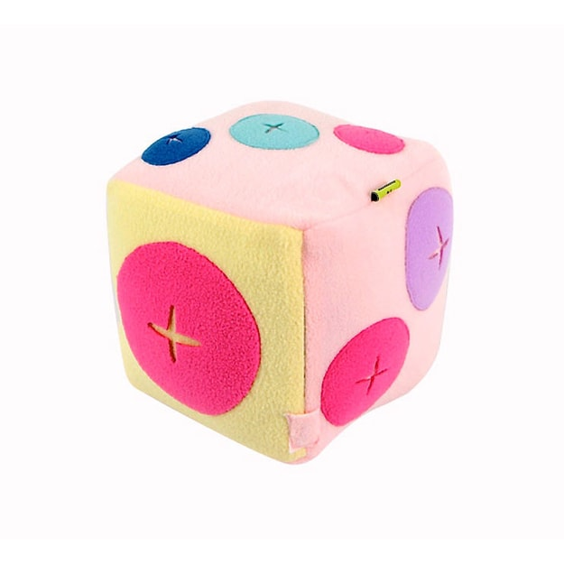 Product Detail - ALPHA DOG SERIES Nose-Work IQ Interactive Treat Dispensing Plush Toy Dice #Pink Medium - image 0