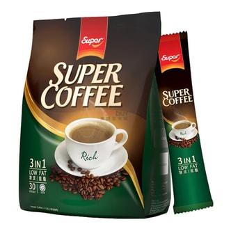 新加坡SUPER超级 三合一低脂特浓即溶咖啡 原味 20g*30条入