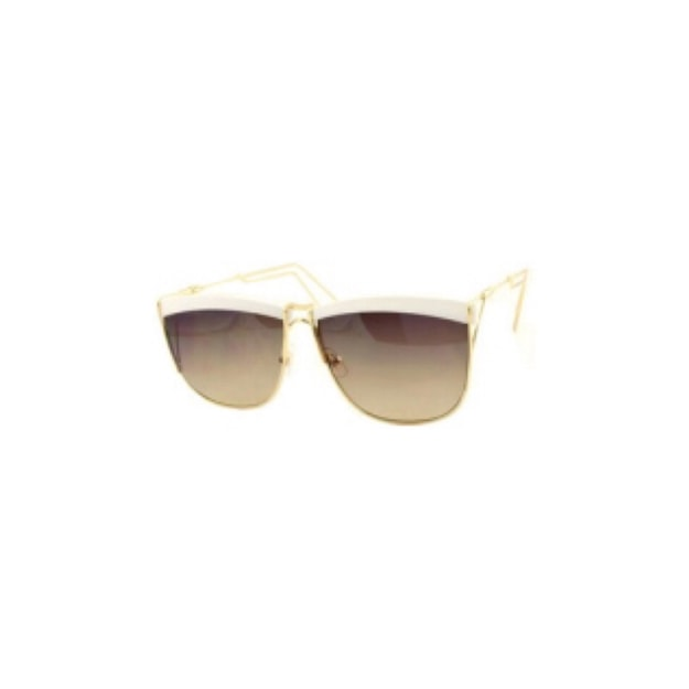 Product Detail - RETRO POP Fashion Sunglasses 5059 Gold&White Frame/Brown Lens - image  0