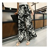 KOREA MAGZERO Black and White Floral Print Wide Leg Pants One Size(Free) [Free Shipping]