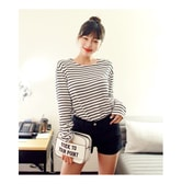 KOREA MAGZERO Boat-Neck Striped T-Shirt #Ivory One Size(S-M) [Free Shipping]