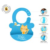 美国UNCLEWU 可调节立体硅胶动物防水围兜- 猫咪NUYI