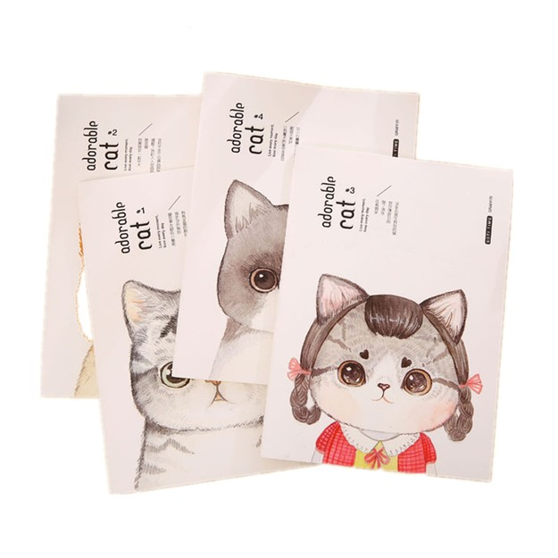 LEARN&WORK  Cute Cat Pattern Design Notebook B5  2PCs/Set