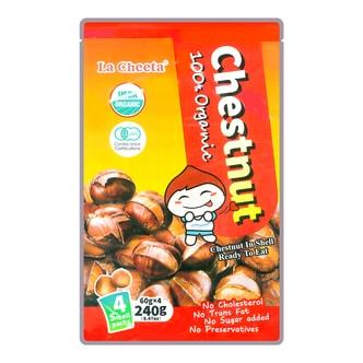 日本LA CHEETA 纯天然有机种植开口带壳甜板栗 4包入 240g USDA认证