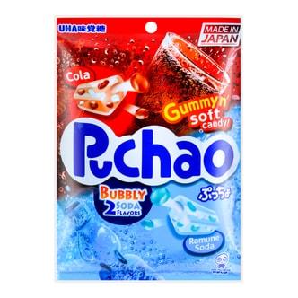 日本UHA悠哈味觉糖 2味汽水碳酸糖中糖夹心软糖 100g