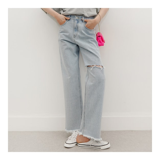 Product Detail - SSUMPARTY High Rise Vintage Wide Leg Jeans #Light Blue M(27-28) - image 0